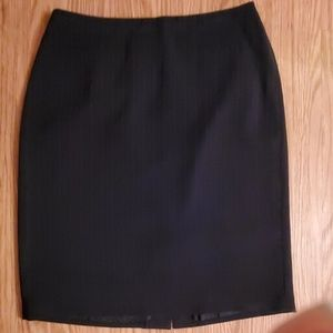 Black pin strip pencil skirt